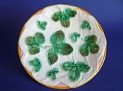 Early George Jones 'Strawberry Leaves on White Napkin' Majolica Plate c1865 #2